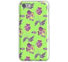 Violet flowers on green iPhone Case/Skin
