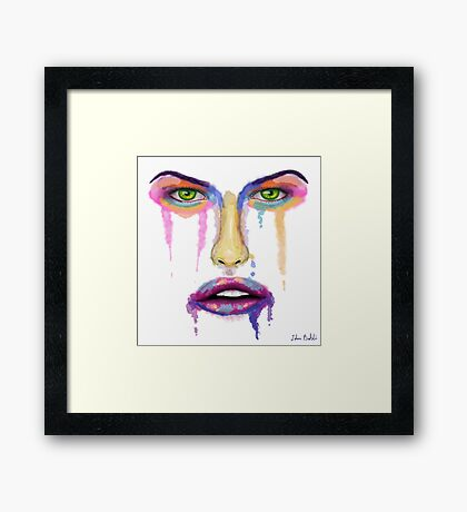Falling Apart - Liquid Colorful Face - Contemporary Art Framed Print