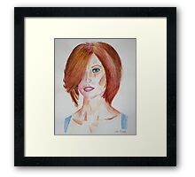 Red Haired Beauty with Blue Eyes Watercolor Portrait Framed Print