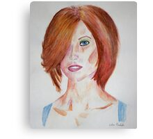 Red Haired Beauty with Blue Eyes Watercolor Portrait Canvas Print