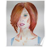 Red Haired Beauty with Blue Eyes Watercolor Portrait Poster