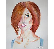 Red Haired Beauty with Blue Eyes Watercolor Portrait Photographic Print