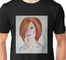 Red Haired Beauty with Blue Eyes Watercolor Portrait Unisex T-Shirt