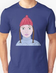 Cute Girl with Big Green Eyes and a Red Hat on a Snowy Scene with her Skis  Unisex T-Shirt