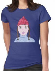 Cute Girl with Big Green Eyes and a Red Hat on a Snowy Scene with her Skis  Womens Fitted T-Shirt