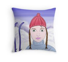 Cute Girl with Big Green Eyes and a Red Hat on a Snowy Scene with her Skis  Throw Pillow