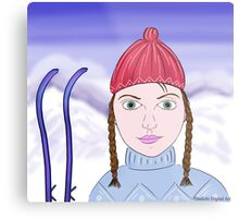 Cute Girl with Big Green Eyes and a Red Hat on a Snowy Scene with her Skis  Metal Print