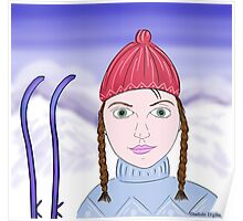 Cute Girl with Big Green Eyes and a Red Hat on a Snowy Scene with her Skis  Poster