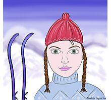 Cute Girl with Big Green Eyes and a Red Hat on a Snowy Scene with her Skis  Photographic Print