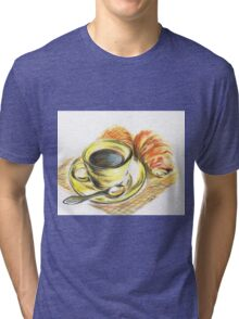 Morning Coffee with Croissants Tri-blend T-Shirt