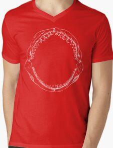 Jaws (White) Mens V-Neck T-Shirt