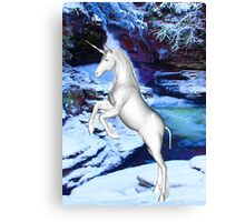 Unicorn in the Snow Canvas Print