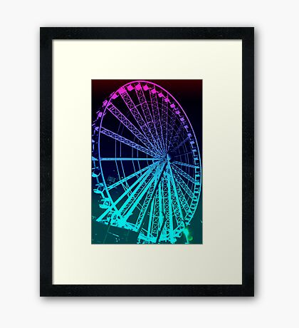 Pastel Brisbane City - Wheel of Brisbane Framed Print