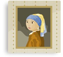 Girl with pearl by Vermeer Canvas Print