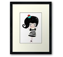 Lovely love Print Illustration Doll surprise Black and white dress black shoes and hair strawberry muffin flavored illustration  Framed Print
