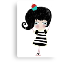 Lovely love Print Illustration Doll surprise Black and white dress black shoes and hair strawberry muffin flavored illustration  Canvas Print