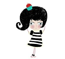 Lovely love Print Illustration Doll surprise Black and white dress black shoes and hair strawberry muffin flavored illustration  Photographic Print