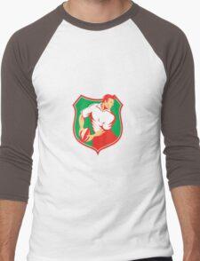 Rugby Player Passing Ball Shield Retro Men's Baseball ¾ T-Shirt