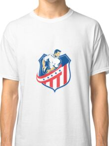 American Rugby Player Passing Ball Shield Retro Classic T-Shirt