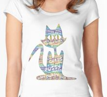 Pussy Grabs Back Black Cat - rainbow cloud Women's Fitted Scoop T-Shirt