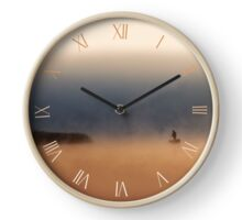 Fisher on boat in quiet morning fog Clock