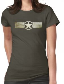 Military star with stripes grunge Womens Fitted T-Shirt