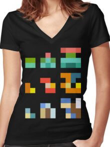 Minimalist Pokemon starters Women's Fitted V-Neck T-Shirt