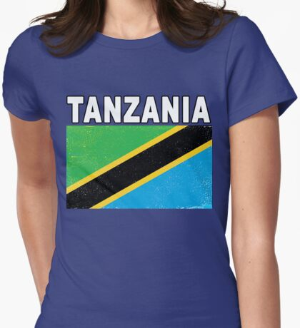 Tanzania Distressed Flag Sport Design Womens Fitted T-Shirt
