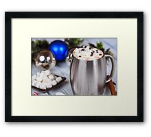 Hot Chocolate with whipped cream and Christmas decorations Framed Print