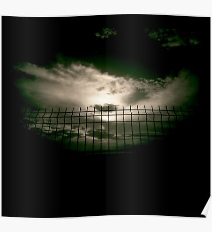 Fence against sky and clouds black and white analog 35mm silver gelatin black and white film photographs Poster
