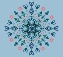Watercolor Lotus Mandala in Teal & Salmon Pink T-Shirt