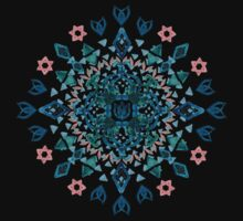Watercolor Lotus Mandala in Teal & Salmon Pink Kids Tee