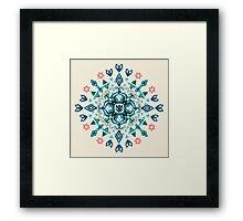 Watercolor Lotus Mandala in Teal & Salmon Pink Framed Print