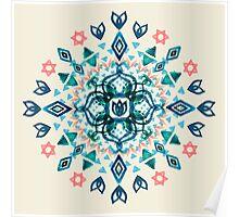 Watercolor Lotus Mandala in Teal & Salmon Pink Poster