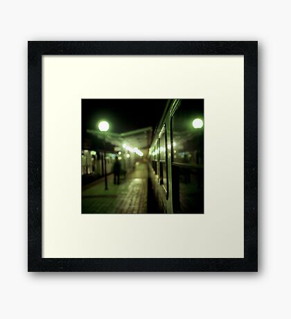 Old train at night in empty station green square Hasselblad medium format film analog photograph Framed Print