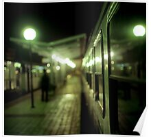 Old train at night in empty station green square Hasselblad medium format film analog photograph Poster