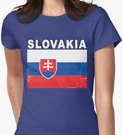 Slovakia Distressed Flag Sports Design Womens Fitted T-Shirt