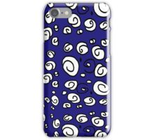 Swirl navy blue and white pattern iPhone Case/Skin