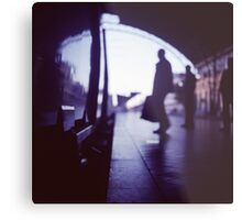 Passenger with luggage boarding old train in station blue square Hasselblad medium format film analog photo Metal Print