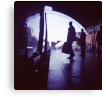 Passenger with luggage boarding old train in station blue square Hasselblad medium format film analog photo Canvas Print