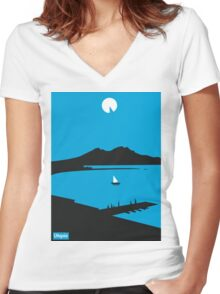 Moon Island - Utopia Women's Fitted V-Neck T-Shirt