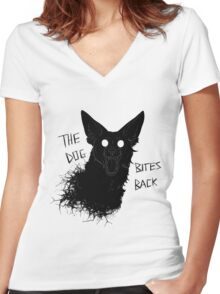 The Dog Bites Back Greyscale Women's Fitted V-Neck T-Shirt