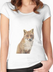 Arctic Snow Red Fox Women's Fitted Scoop T-Shirt