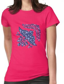 Blue floral pattern Womens Fitted T-Shirt