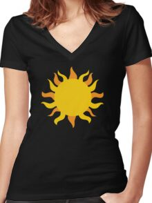 Day and Night : Sun and Moon : Geometric : Matching Couple Friend Tribal Print Women's Fitted V-Neck T-Shirt
