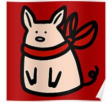 Red Ribbon Piggy Poster