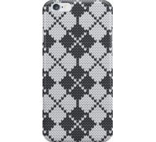 Stockinette Fair Isle Pattern - Black iPhone Case/Skin