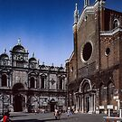 Facade of S Giovanni et S Paulo Cathedral Venice Italy 19840731 0074 by Fred Mitchell