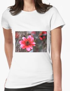 The Pink Red Flower Womens Fitted T-Shirt