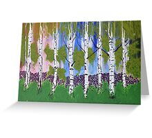 Midday walk among the birch and blossoms. Greeting Card